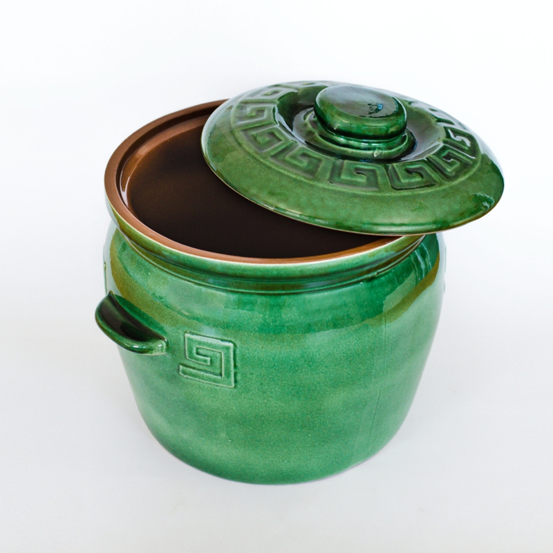 Large Glazed Clay Cooking Pot Green Terracotta Cookware